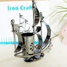 Home bar furnishings warship sailing model handmade metal craft ship model antique decoration sailboat model