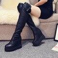 Мода Женская Обувь Квартиры Сапоги На Платформе Снег Дождь ПУ Зима резиновые Плюша Шерсти Теплый Скольжения На Круглый Носок Ретро Суперзвезда CSCD-833