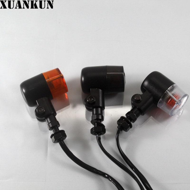 XUANKUN Motorcycle Parts Modified Metal Shell Retro Folding Turn Lights