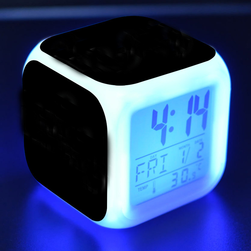 New 7 Color Glowing Change Toy Clock Digital Thermometer Cube LED toy Clock Time Data Week and Temperature Display L118 цена