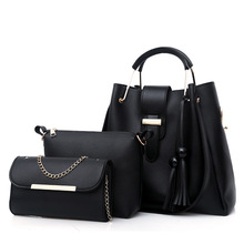 3Pcs/Sets Women Handbags Leather Shoulder Bags Female Large Capacity Casual Tote Bag Tassel Bucket Purses And Handbags Sac Femme