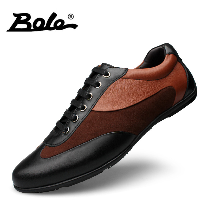BOLE Big Size 36-48 Genuine Leather Shoes Men Lace Up Fashion Leather Sneakers Patchwork Breathable Men Casual Flat Shoes genuine leather men casual shoes wool fur warm winter shoes for men flat lace up casual shoes men s flat with shoes fashion