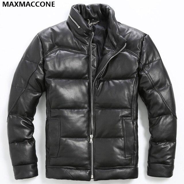2017 New Men Black Short Genuine Leather Goose Down Jacket Stand ...