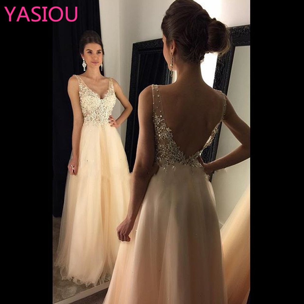 NEW Sparkling A Line Long Dress 2019 Sleeveless Beaded V Neck Backless Tulle Long Pageant Dresses Formal Evening Dresses