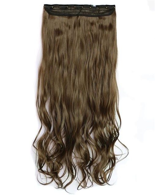 28inch 140g 5clips Long Curly Wavy Clip In Hair Extensions Synthetic