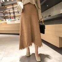 Knitted Skirts Womens Jupe Femme New Autumn High Waist Skirt Faldas Fashion Winter Skirt Women Warm Black Maxi Long Skirt C5106
