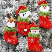 Imixlot Christmas Stockings Socks Santa Claus Candy Gift Bag Xmas Tree Pendant