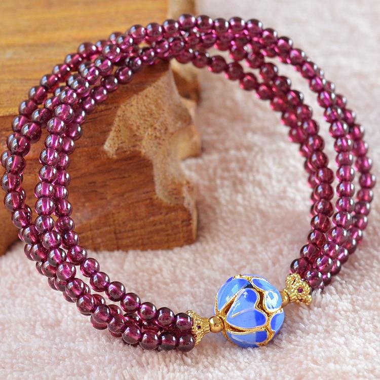 Grade AAAA 3mm Natural Purple Garnet Round Beads Bracelet,Fashion Garnet weaving Jewelry Bracelet