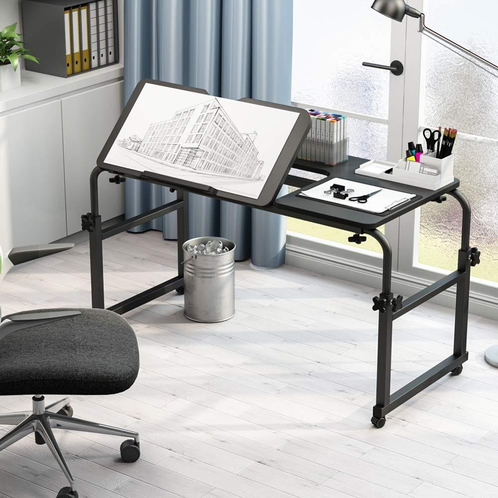 Overbed Tabelle mit Rädern, Multi-Funktion Einstellbar Mobilen Tisch mit Schwenkbarer Bord, Computer Schreibtisch für Schreiben Ausarbeitung