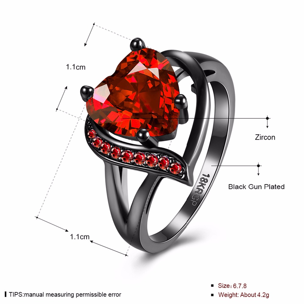 DROLE 2 Colors Vintage CZ Wedding Ring Fashion Love Heart Big Black Ring for Women Jewelry