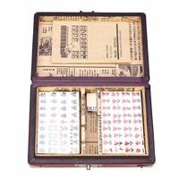 NEW 144 Tiles Mah Jong Set Multi color Portable Vintage Mahjong Rare Chinese Toy With Bamboo Box