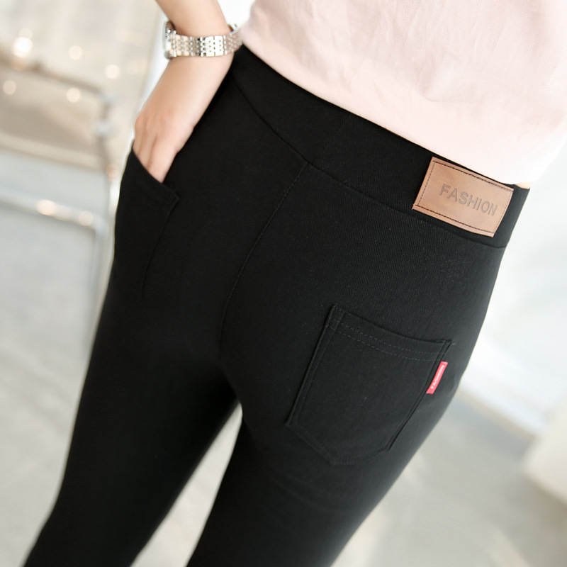 2019 autumn new thin section leather woven   leggings   ladies wear black high stretch nine feet women trouses B132
