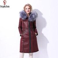 Женская зимняя куртка кожаная куртка зимнее пальто Женская парка Большие размеры 7XL длинное кожаное пальто с меховым воротником на молнии с