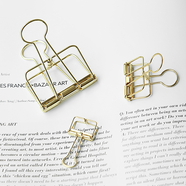 TUTU Nordic gold Novelty Solid Color Hollow Out Metal Binder Clips Notes Letter Paper Clip Office Supplies H0201 punk style solid color hollow out ring for women