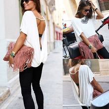 2016 fashion new style Women Summer Loose Casual Chiffon Backless Vest T-Shirt Tops Ladies T-Shirts