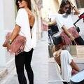 2016 moda de nova mulheres verão solto Chiffon Backless colete t-shirt Tops t-shirt