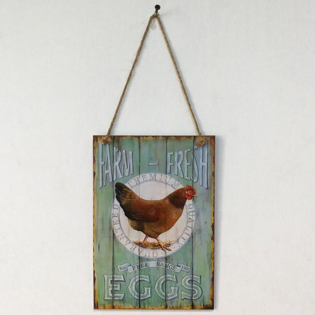 Деревянный Ретро петух фермы свежие яйца письмо доска Настенный декор висит кулон вывеска для фермы ранчо планка украшения