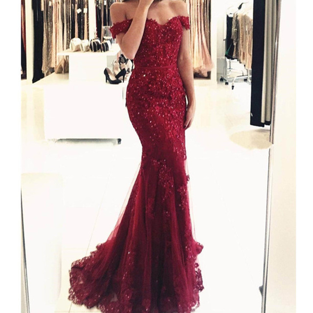 Off Shoulder Formal Burgundy Gowns 2019 Lace Appliques Beaded Mermaid Long Emerald Green Tulle Robe De Soiree Bridesmaid Dresses