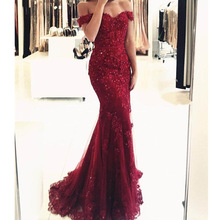 Off Shoulder Formal Burgundy Gowns 2019 Lace Appliques Beaded Mermaid Long Emerald Green Tulle Robe