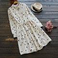 Japonés casual dress feather impresión tie cintura turn down collar de manga larga de algodón de lino suave femenina linda dress mori chica U657
