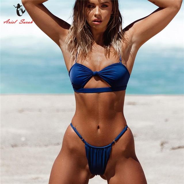 4f66d9f7e Ariel Sarah Solid Bikini Mujer Sexy Swimwear Swimsuit Bathing Suit Women  Adjust Bikini Push UP Beach Wear Biquini Monokini