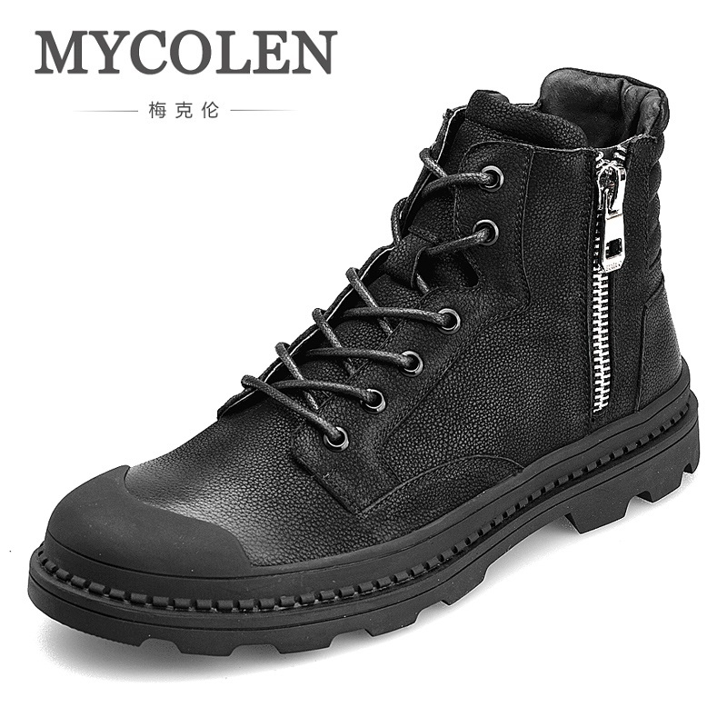 MYCOLEN 2018 Genuine Leather Shoes Winter Boots Men Full Grain Leather Shoes Ankle Boots Men High Top Shoes Laarzen Dames branded men s penny loafes casual men s full grain leather emboss crocodile boat shoes slip on breathable moccasin driving shoes