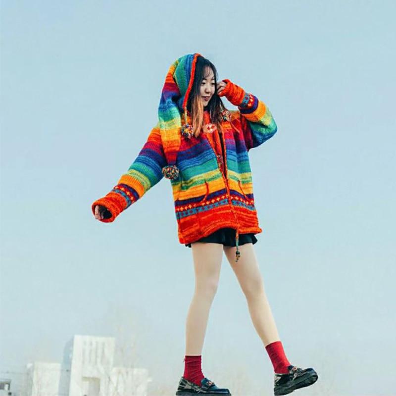 Бесплатная доставка 2018 Радуга прямо 100% шерсть для женщин; большие размеры M 2XL Винтаж Инди фолк толстый теплый флис ручной работы свитеры