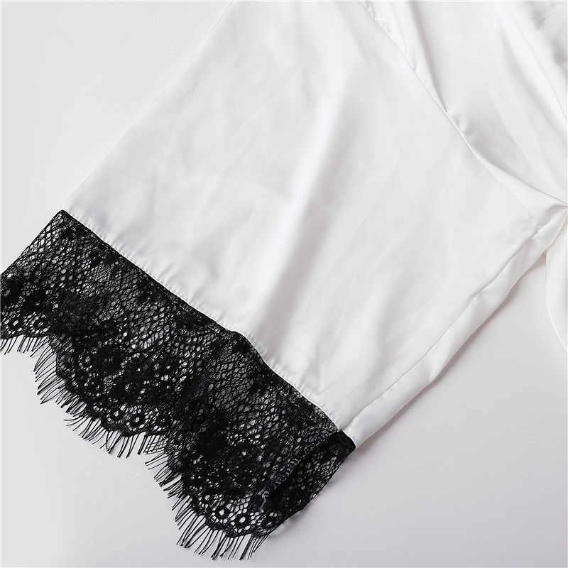 Seksi Elbiseler Kadınlar Için Artı Boyutu Dantel Pijama Uyku Elbise Kadın Gecelik Bornoz Moda Beyaz Yarım Sleepshirts L XL 2019