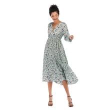 Spring Summer Dress 2019 Casual Long Dress Boho Floral Print Maxi Dress Fashion pleated V-neck slim long-sleeved chiffon Women's цена в Москве и Питере