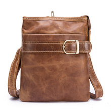 цена на Fanny Waist Pack Men Genuine Leather Shoulder Belt Bag Mini Waist Bag Leather Pouch Bum Bag Messenger Crossbody Travel Phone Bag