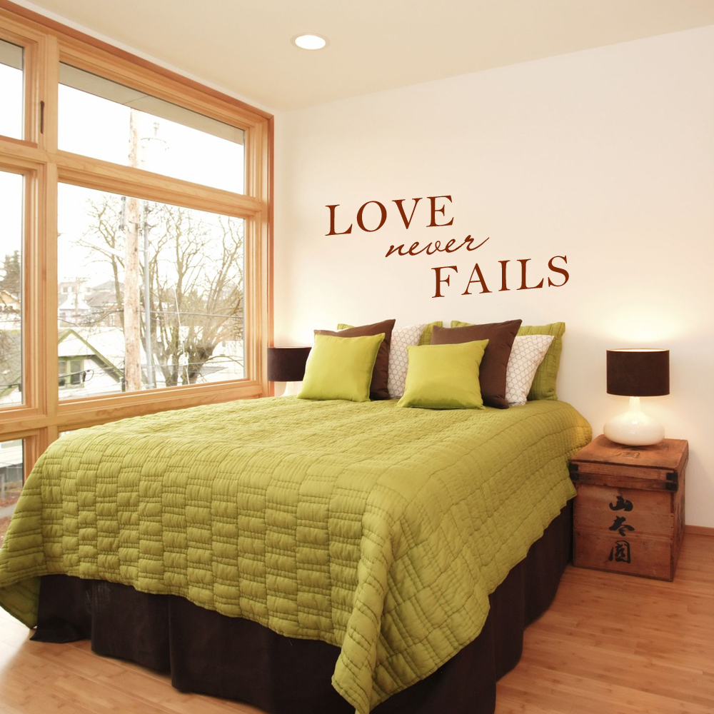 Love Never Fails Romantic wall decal love quotes vinyl wall art wall ...