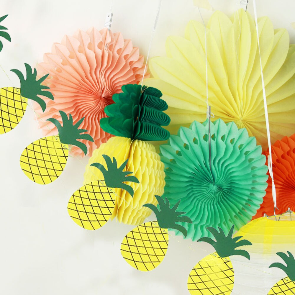 Set of 9 Summer Party Decoration Kit( Lantern,Paper Fans,Pineapple Garland) Tropical Hawaiian BBQ Beach Luau Birthday Pool Party Carnivals (3)