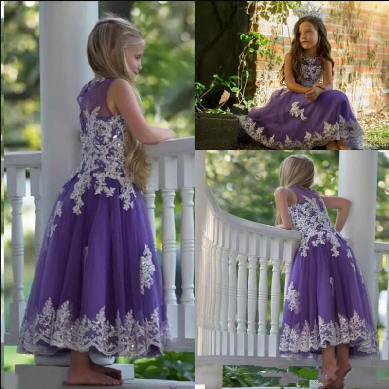 Gorgeous   Girls   Pageant Gowns with Lace Appliques Sequins Floor Length   Flower     Girl     Dress   For Wedding Custom Made New Arrivals