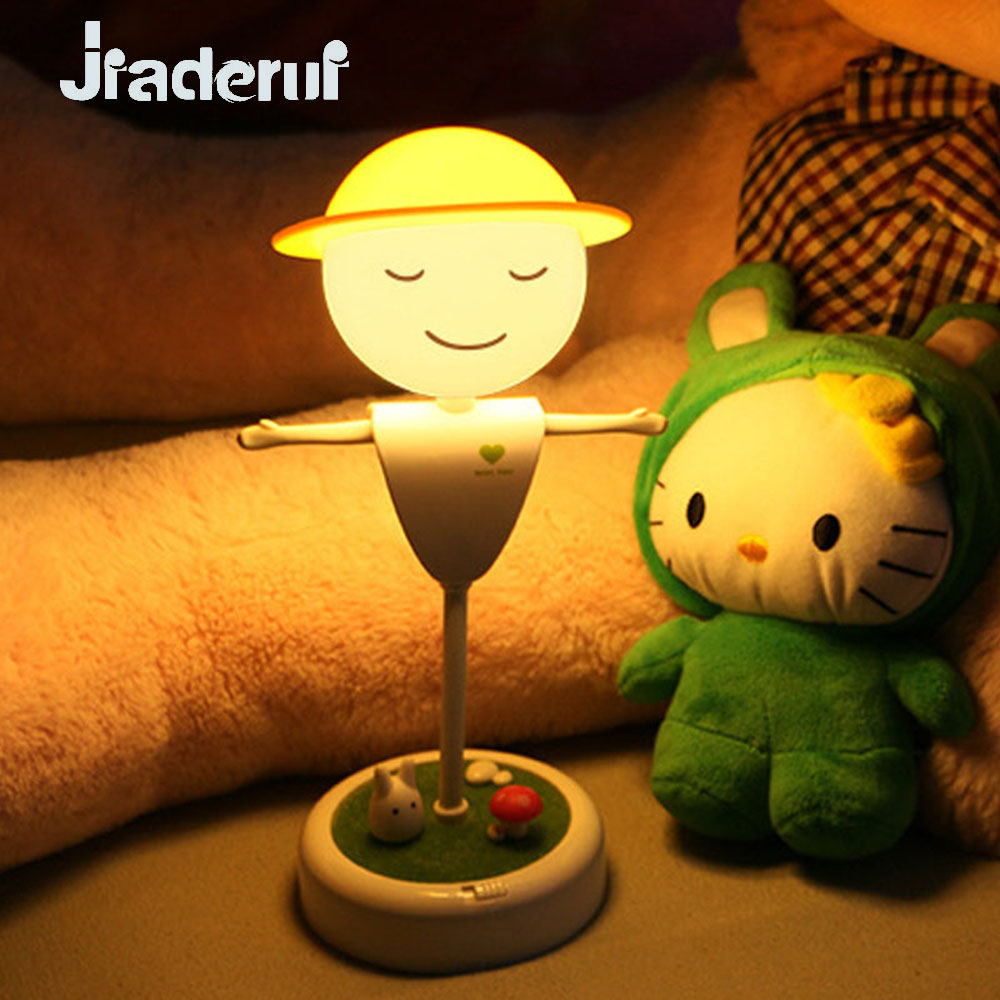 Jiaderui LED Night Lamps Creative Scarecrow Sensor Night Lights for Children Bedroom USB Night Lamps With Timing Dimmable Touch