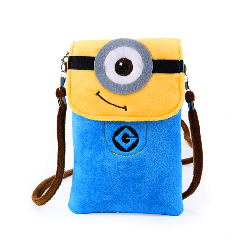 Plush cartoon printing children school bags kids messenger travel small phone pouches money bag for kindergarten baby girls boys