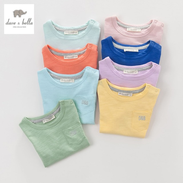 DB3803 дэйв белла лето мальчик красочные хлопка майка детская одежда ковылять тройники мальчики топы дети футболку 8 цветов