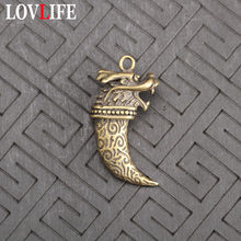 Antique Copper Solid Dragon Head Keychains Pendants Men Brass Metal Wolf Tooth Keyrings Vintage Key Chain Car Key Holder Jewelry(China)