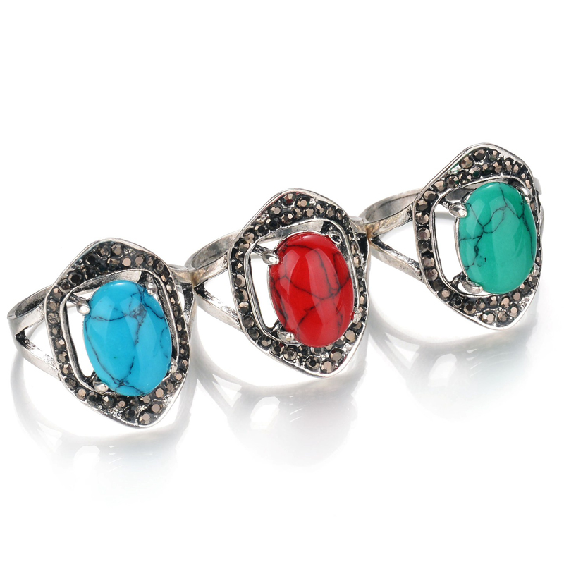 Fashion Jewelry Vintage Look Tibetan Alloy Antique Silver Plated Personality Crystal Green Blue Red Oval Calaite Stone Ring
