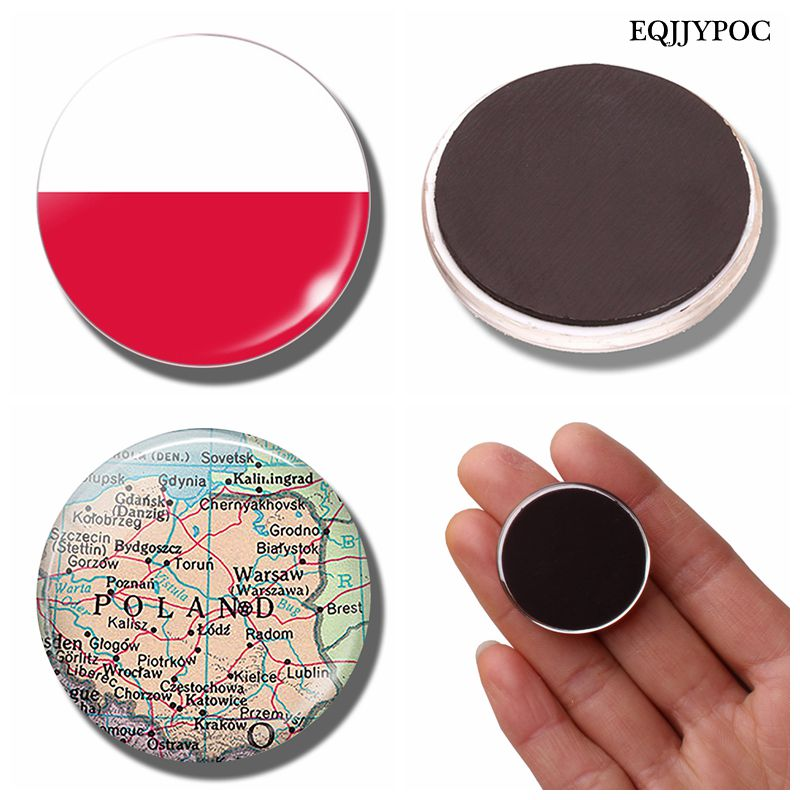 Republic of Poland Map 30 MM Fridge Magnet Warsaw Glass Cabochon Magnetic Refrigerator Stickers Note Holder Home Decoration