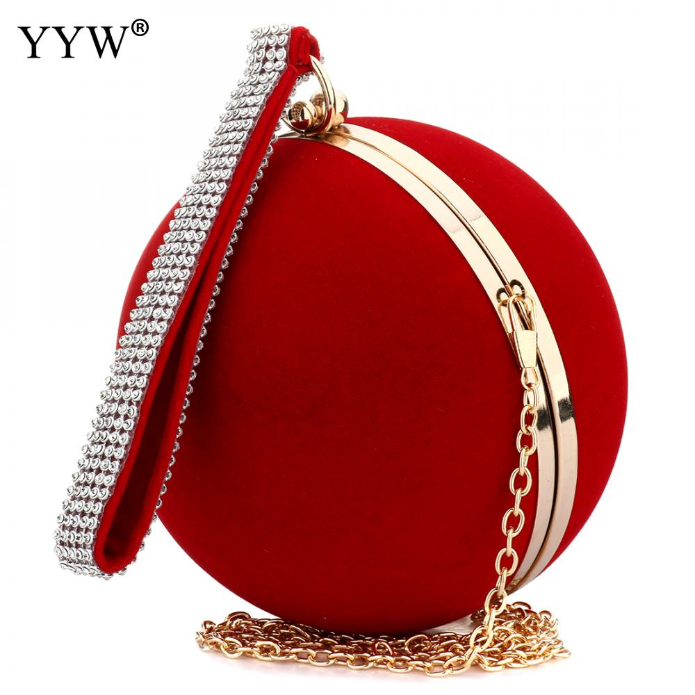 YYW Unique Velvet Iron-On Lady Handbag Red Shoulder Clutch Bag Spherical Evening Bags Small Purse Chain Shoulder Bolsos Mujer