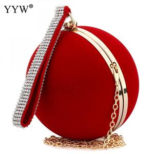 Image 2 - YYW Unique Velvet Iron On Lady Handbag Red Shoulder Clutch Bag Spherical Evening Bags Small Purse Chain Shoulder Bolsos Mujer
