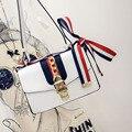 2016 Nova Marca de Moda designer Mulher Saco Do Mensageiro Qualidade do Couro DO PLUTÔNIO Das Senhoras Bolsa stripe fita ombro bloqueio saco F529
