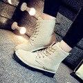 De Las Mujeres calientes Pisos Oxford Zapatos de Mujer Femenina Punta Redonda Felpa invierno Damas de Piel Con Cordones de Gamuza Suela De Goma Ocasional Zapatos Del Barco QX-126
