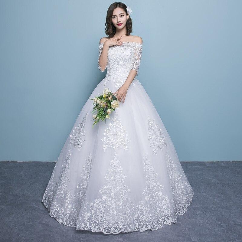 Wedding Dress 2019 New Arrival Butterfly Gelinlik Embroidery Lace Boat Neck Off the Shoulder Princess Gowns Vestidos De Novia - 3
