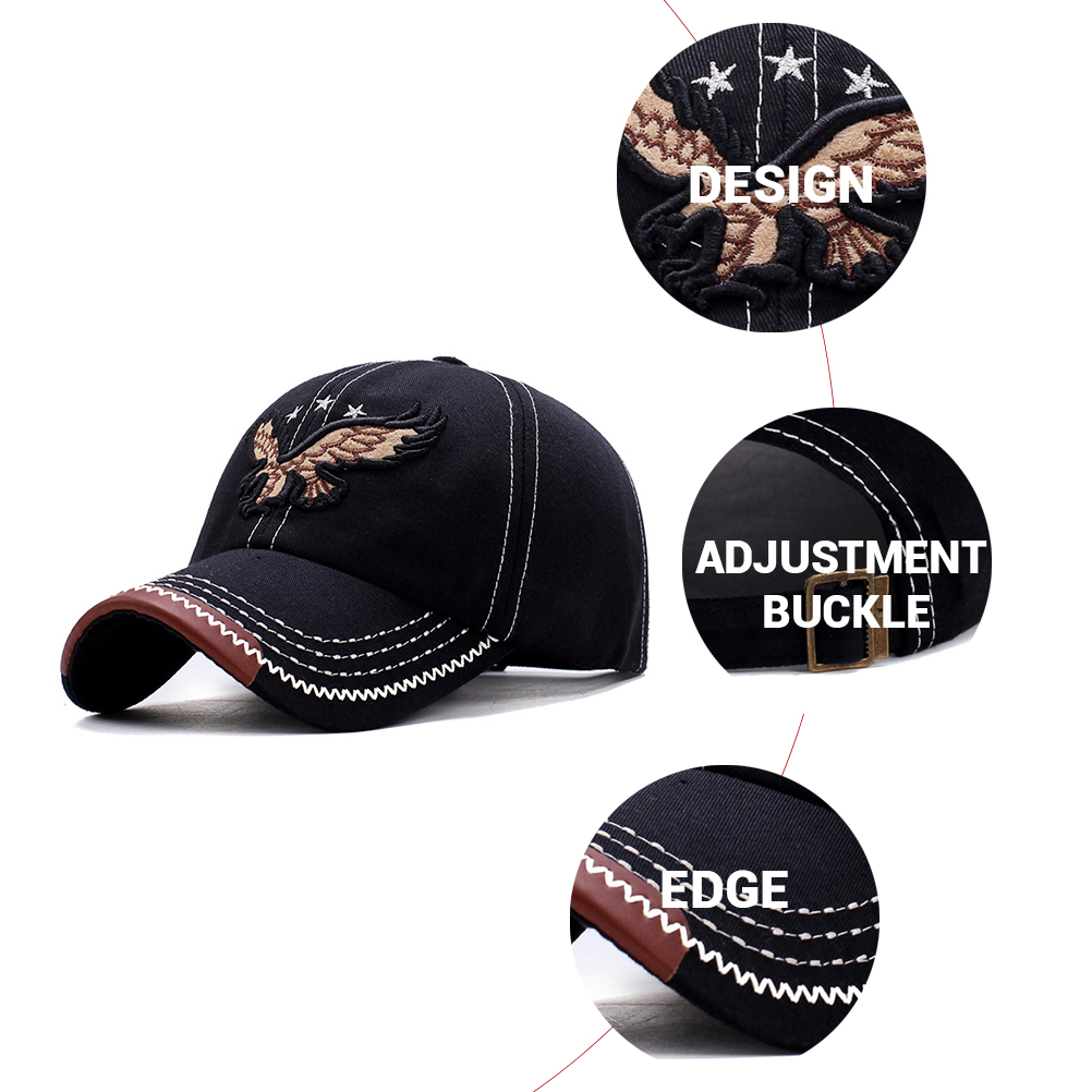 HTB1s5nme8aE3KVjSZLeq6xsSFXaa - New 3D Eagle Embroidery Baseball Cap Male Cap Hip Hop Flat Along Snapback Hats Baseball Cap Lovers Cap For Men & Women #30
