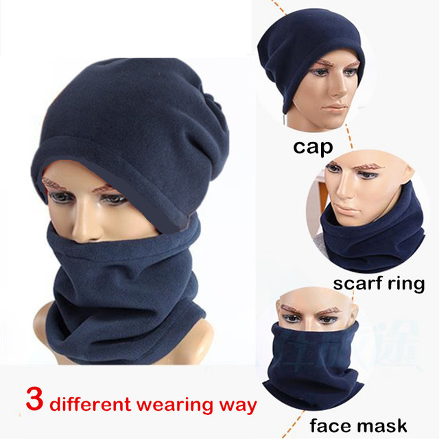 19171424a14 4 in 1 Winter Warm Scarf Women Men Unisex Snood Skiing Cycling Warmer Face  Mask Cap Spring Sport Beanie Hats Outdoor 1pc