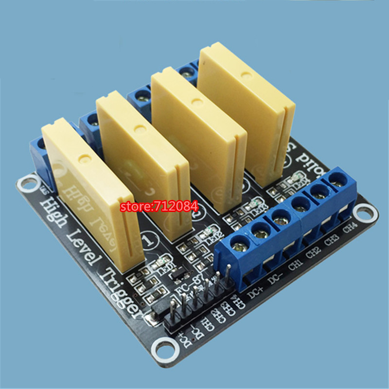 4 channel solid state relay module High level 5A trigger DC control DC 3-32V load 5A PLC automation equipment control dc 12v led display digital delay timer control switch module plc automation new