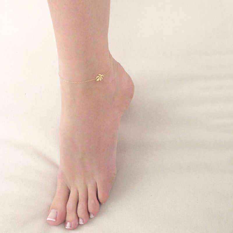 Ahmed новый дизайн сексуальный пляжный стиль ножные браслеты с цепочкой для женщин Модные Винтажные Золотые и Серебряные Листья аксессуар украшение для ног ювелирные изделия