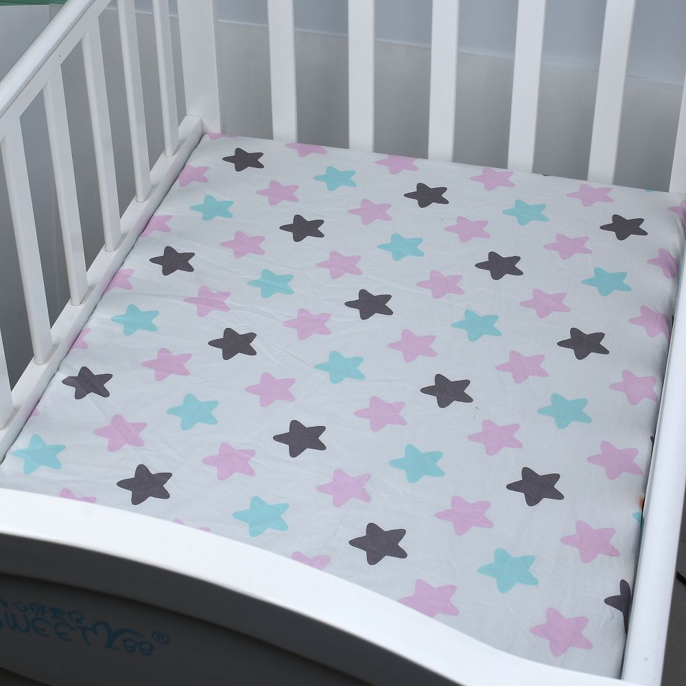 Baby bed sheet pattern - Aliexpress Com Buy 120 70 Cm Cotton Baby Bed Sheets Printed Fitted Crib Star Sheet Baby Newborns Boy Girl Favorite Crib Woven Bedding Line From Reliable