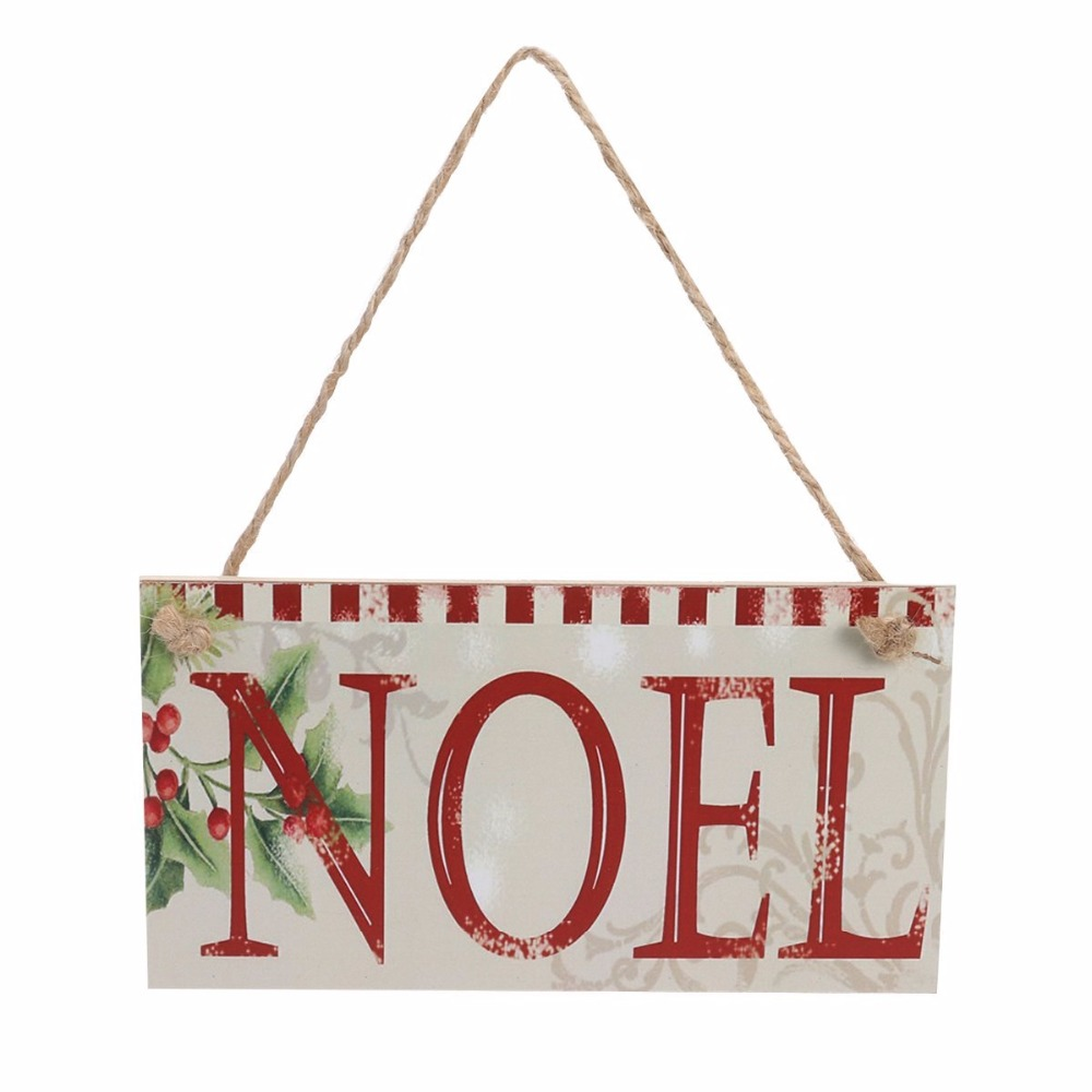 Rustic NOEL Rectangle Wooden Plaque Hanging Board Wall Art Decoration Sign Christmas Party Home Garden Decoration Favor Gifts